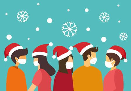 Man and woman wearing medical face mask and Santa Claus hat with snowflakes on background. Merry Christmas celebration in covid19 outbreak. Winter season holiday.