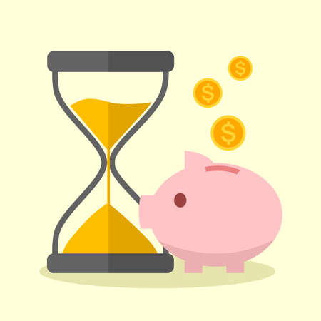 Cute piggy bank with falling coins and hourglass in flat design. Money saving or bank deposit concept vector illustration. Save money for investment.