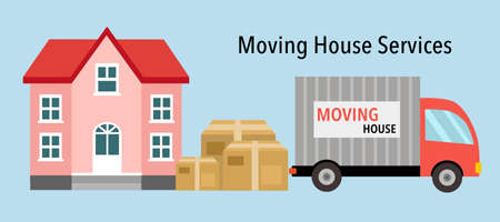 Moving house service concept vector illustration. House with cardboard boxes and moving truck design for banner website or poster.