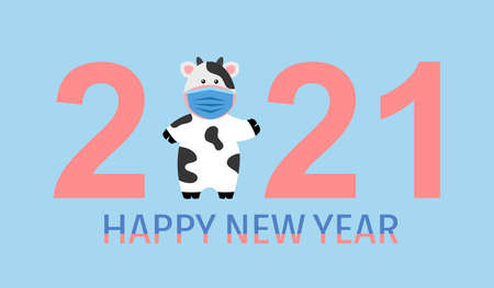 Cute cow wearing blue medical face mask with text happy new year 2021. Season greetings. Holiday celebration. 矢量图像