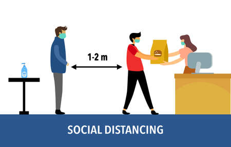 Social distancing concept vector illustration on white background. Covid-19 Coronavirus prevention and keep a safe distance from others at shopping store or supermarket.