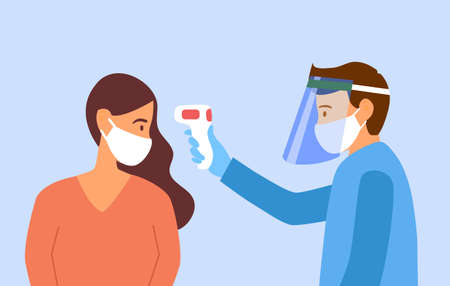 Man wearing face mask and face shield measuring the temperature of a woman with medical digital infrared thermometer in side view. epidemic outbreak. thermo scan checkpoint.