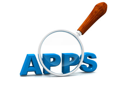 zooming: Apps and magnifying glass  Magnifying glass showing apps word