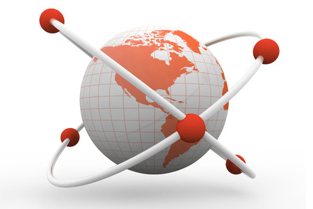atomic center: atom symbol with a globe