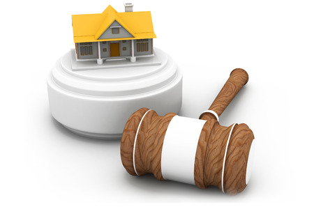 Real estate auction, house and gavel   Stock Photo