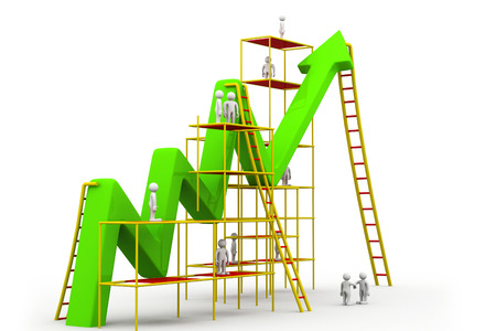 succeeding: Business people Building an arrow. Creating business growth
