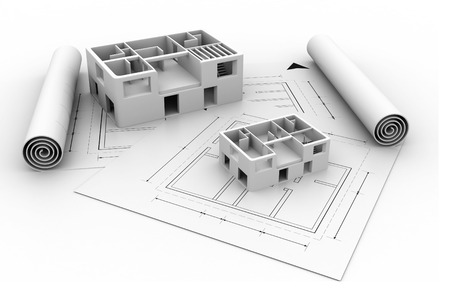 3d architecture house blue print plan  photo