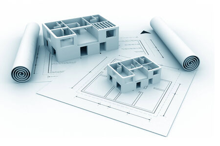 drafting tools: 3d architecture house blue print plan