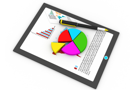 Tablet computer and financial charts  photo