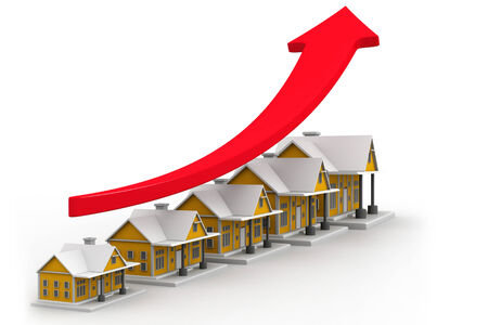 home value: Growth in real estate shown on graph  Stock Photo