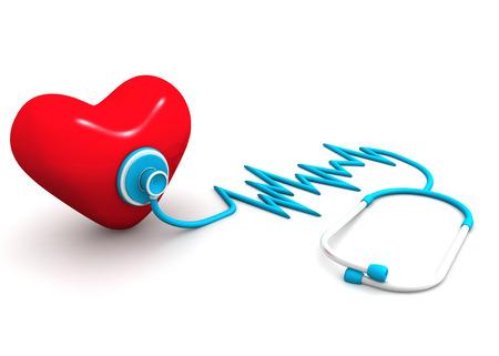 estetoscopio corazon: Corazón rojo y un estetoscopio Foto de archivo