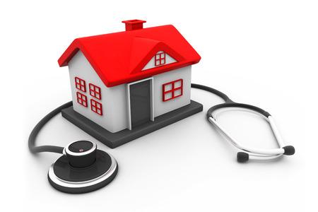 Haus mit Stethoskop Standard-Bild - 26091774