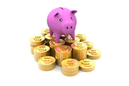 Piggy bank with golden coins   photo