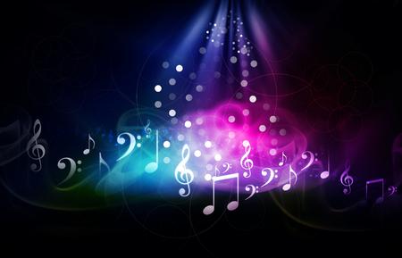 pentagrama musical: Ilustración digital de la música de fondo Foto de archivo