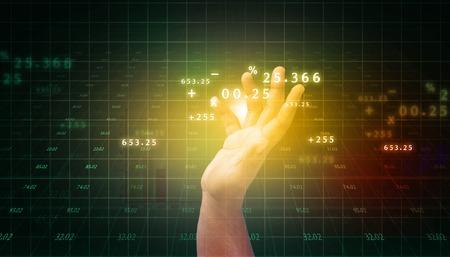 global market: man touching business progress chart