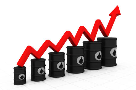 Oil barrels with increasing arrow. Increasing oil price.  photo