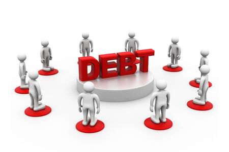crowed: People around word debt   Stock Photo