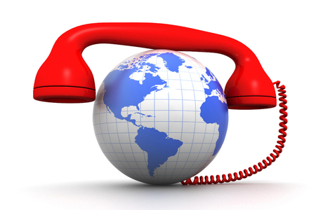 anywhere: Globe and phone receiver  Global communication concept;