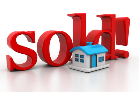 real estate sold: 3d house with text sold isolated over white background Stock Photo