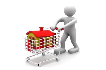 realestate: shopping cart trolley with house with business man