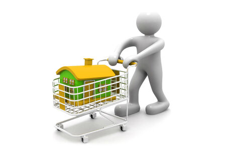 renting: shopping cart trolley with house with business man