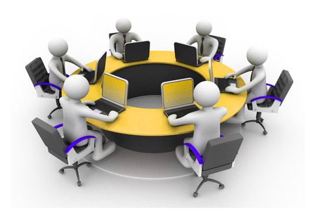 3d business people Working Together At Desk In Office  Round table; conference photo