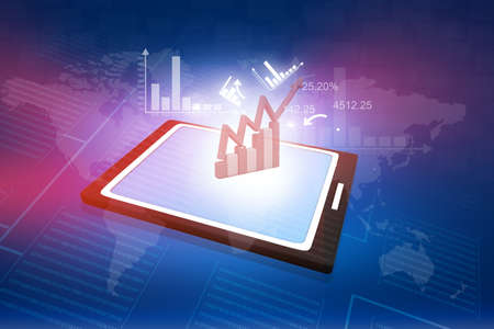 computer tablet PC showing a spreadsheet with some business charts  photo