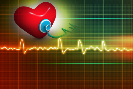 pulsating: Cardiogram, love and stethoscope on abstract background