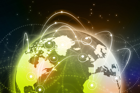 fibber: Global business network concept. Globalization concept Stock Photo