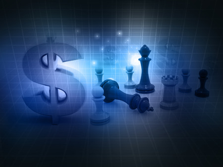 mate: chess game and dollar sign on abstract background