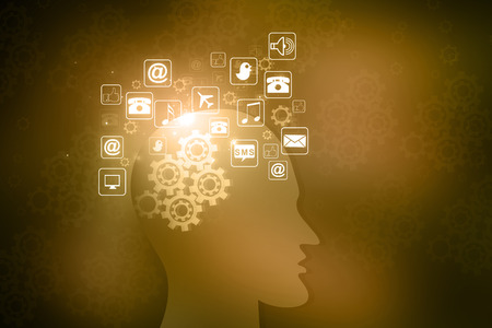 Human head with internet icons  photo