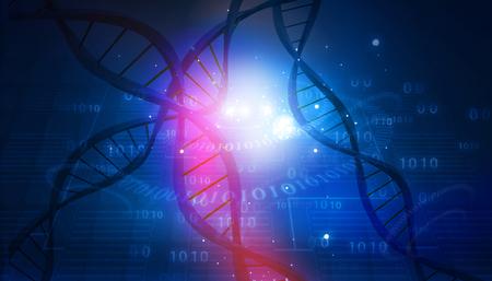 추상 디지털 배경에 DNA 구조