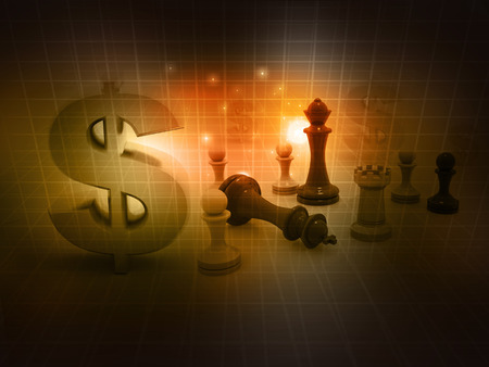 chess game and dollar sign on abstract background  photo