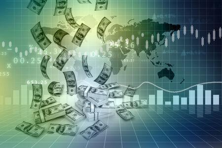 weather map: Dollar rain  and finance graphs   Stock Photo