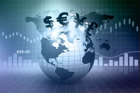 Currency symbols on Earth. Financial background