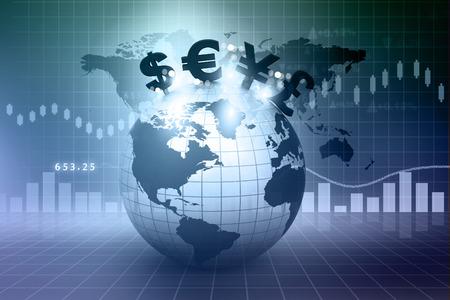 Símbolos de moneda en la Tierra. Fondo financiero Foto de archivo - 27718172