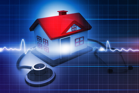 remediation: House with stethoscope on abstract medical background