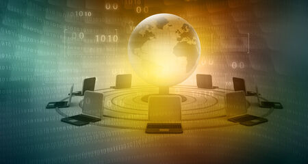 information technology background: global computer network on abstract tech background