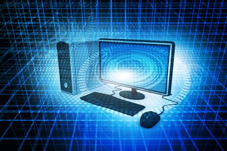 抽象的な技術の背景にデジタル イラストレーションの現実的なデスクトップ コンピューター