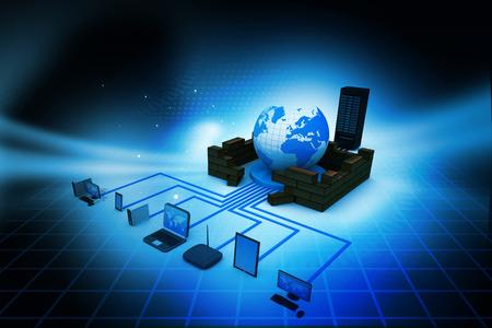 컴퓨터 네트워크 및 추상적 인 배경에 인터넷 통신 개념