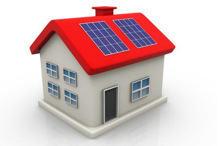 solarpanel: Solar panel on house    Stock Photo