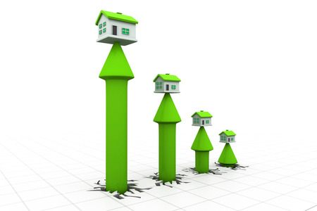 upgrowth: 3d house and arrow graph. Growth in real estate