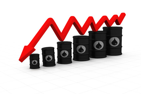 Oil barrels with arrow down. Oil price fall   photo