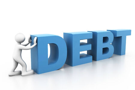 heavy load: Man push word debt Stock Photo