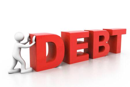 Man push word debt  Stock Photo