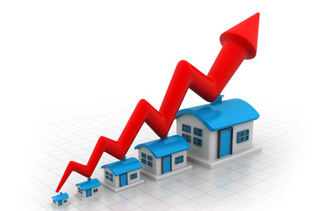 upgrowth: Growth in real estate shown on graph  Stock Photo