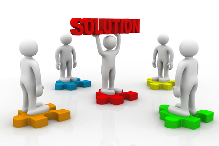 integrated groups: man holding big red solution puzzle