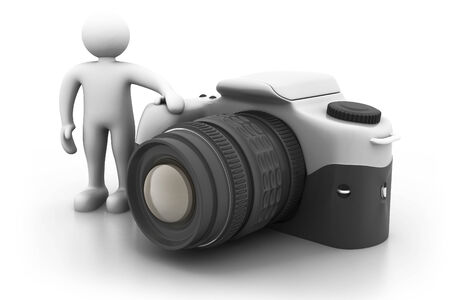 3d man standing next to a large digital camera.  photo