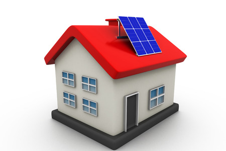 solar panel roof: House with solar panels  Stock Photo