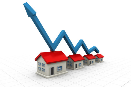 on demand: 3d house and arrow graph. Growth in real estate